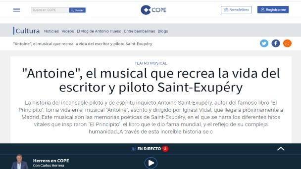 Antoine, el musical que recrea la vida del escritor y piloto Saint-Exupéry