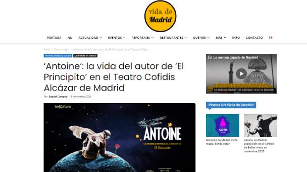 Antoine: la vida del autor de 'El Principito' en el Teatro Cofidis Alcázar de Madrid